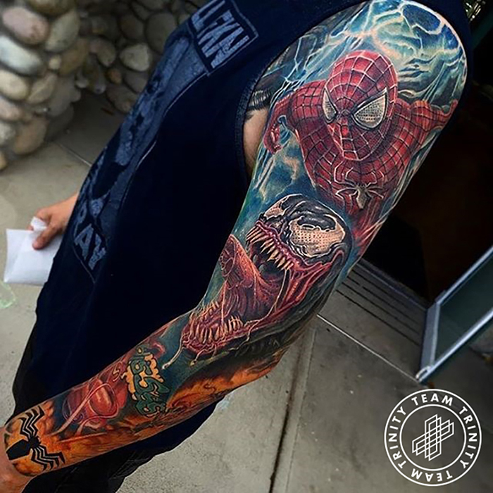 full spiderman arm sleeve tattoo