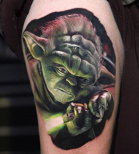 realistic tattoo of Yoda