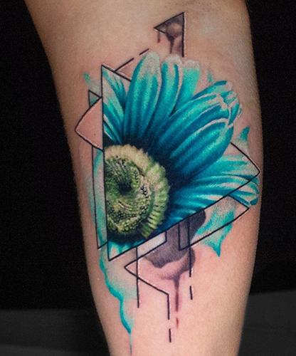 blue watercolour tattoo
