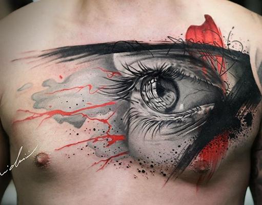 realistic eye tattoo on chest
